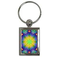 Psychedelic Abstract Key Chain (rectangle) by Colorfulplayground
