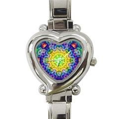 Psychedelic Abstract Heart Italian Charm Watch  by Colorfulplayground