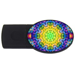 Psychedelic Abstract 4gb Usb Flash Drive (oval) by Colorfulplayground
