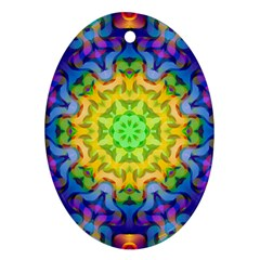 Psychedelic Abstract Oval Ornament (two Sides) by Colorfulplayground