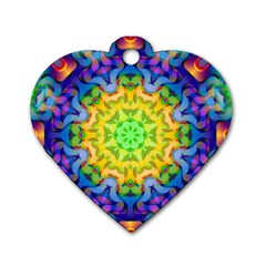 Psychedelic Abstract Dog Tag Heart (one Sided)  by Colorfulplayground