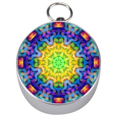 Psychedelic Abstract Silver Compass by Colorfulplayground