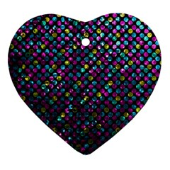 Polka Dot Sparkley Jewels 2 Heart Ornament by MedusArt
