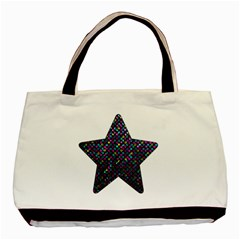 Polka Dot Sparkley Jewels 2 Twin Sided Black Tote Bag by MedusArt