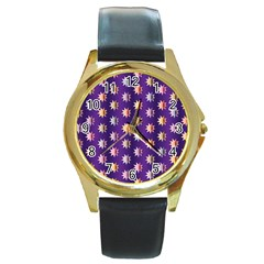 Flare Polka Dots Round Leather Watch (gold Rim)
