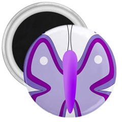 Cute Awareness Butterfly 3  Button Magnet by FunWithFibro