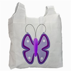 Cute Awareness Butterfly White Reusable Bag (one Side) by FunWithFibro