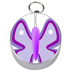 Cute Awareness Butterfly Silver Compass by FunWithFibro