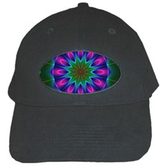 Star Of Leaves, Abstract Magenta Green Forest Black Baseball Cap by DianeClancy