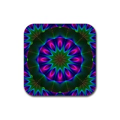 Star Of Leaves, Abstract Magenta Green Forest Drink Coasters 4 Pack (square) by DianeClancy