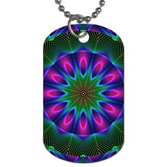 Star Of Leaves, Abstract Magenta Green Forest Dog Tag (two Sided)  by DianeClancy