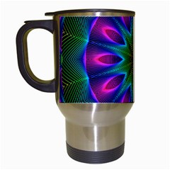 Star Of Leaves, Abstract Magenta Green Forest Travel Mug (white) by DianeClancy