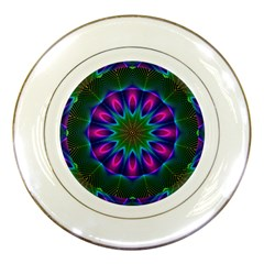 Star Of Leaves, Abstract Magenta Green Forest Porcelain Display Plate by DianeClancy