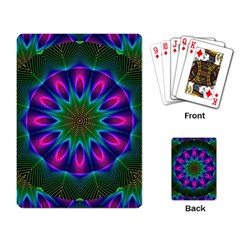 Star Of Leaves, Abstract Magenta Green Forest Playing Cards Single Design by DianeClancy