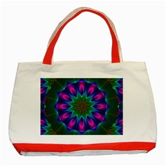 Star Of Leaves, Abstract Magenta Green Forest Classic Tote Bag (red) by DianeClancy