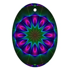 Star Of Leaves, Abstract Magenta Green Forest Oval Ornament (two Sides) by DianeClancy