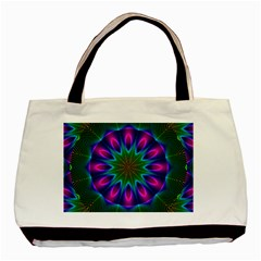 Star Of Leaves, Abstract Magenta Green Forest Twin Sided Black Tote Bag by DianeClancy