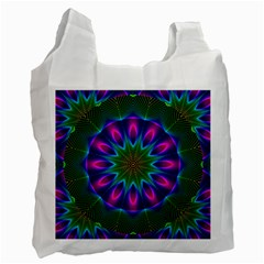Star Of Leaves, Abstract Magenta Green Forest White Reusable Bag (two Sides) by DianeClancy