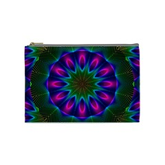 Star Of Leaves, Abstract Magenta Green Forest Cosmetic Bag (medium) by DianeClancy