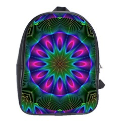 Star Of Leaves, Abstract Magenta Green Forest School Bag (large) by DianeClancy