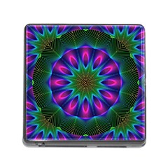 Star Of Leaves, Abstract Magenta Green Forest Memory Card Reader With Storage (square) by DianeClancy