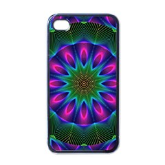 Star Of Leaves, Abstract Magenta Green Forest Apple Iphone 4 Case (black) by DianeClancy