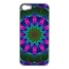 Star Of Leaves, Abstract Magenta Green Forest Apple Iphone 5 Case (silver) by DianeClancy