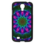 Star Of Leaves, Abstract Magenta Green Forest Samsung Galaxy S4 I9500/ I9505 Case (Black) Front