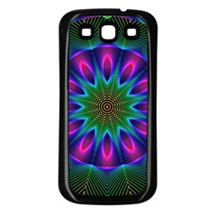 Star Of Leaves, Abstract Magenta Green Forest Samsung Galaxy S3 Back Case (black) by DianeClancy