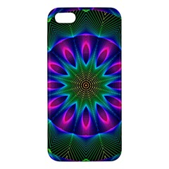 Star Of Leaves, Abstract Magenta Green Forest Iphone 5s Premium Hardshell Case by DianeClancy