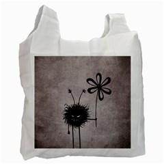 Evil Flower Bug Vintage White Reusable Bag (one Side) by CreaturesStore