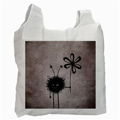 Evil Flower Bug Vintage White Reusable Bag (two Sides) by CreaturesStore