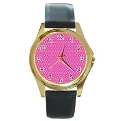 Pink Kaleidoscope Round Leather Watch (gold Rim)  by Khoncepts