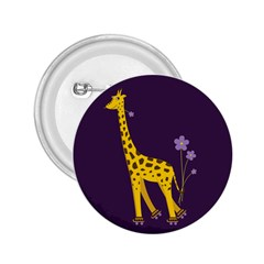 Purple Roller Skating Cute Cartoon Giraffe 2 25  Button