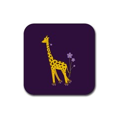 Purple Roller Skating Cute Cartoon Giraffe Drink Coaster (square) by CreaturesStore