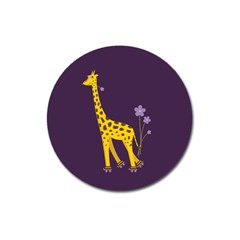 Purple Roller Skating Cute Cartoon Giraffe Magnet 3  (round)