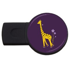Purple Roller Skating Cute Cartoon Giraffe 4gb Usb Flash Drive (round) by CreaturesStore