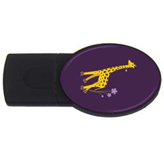 Purple Roller Skating Cute Cartoon Giraffe 4gb Usb Flash Drive (oval) by CreaturesStore