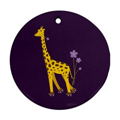 Purple Roller Skating Cute Cartoon Giraffe Round Ornament (two Sides) by CreaturesStore