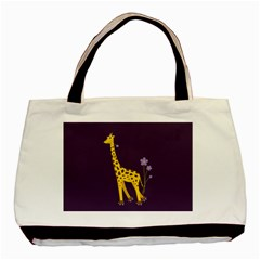 Purple Roller Skating Cute Cartoon Giraffe Twin Sided Black Tote Bag