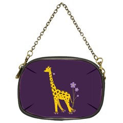 Purple Roller Skating Cute Cartoon Giraffe Chain Purse (one Side)