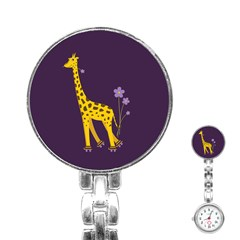 Purple Roller Skating Cute Cartoon Giraffe Stainless Steel Nurses Watch