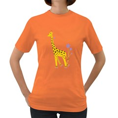 Cute Roller Skating Cartoon Giraffe Women s T Shirt (colored)