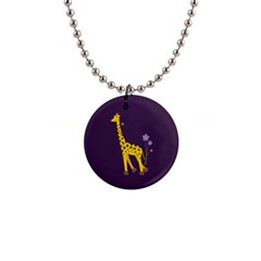 Cute Roller Skating Cartoon Giraffe Button Necklace by CreaturesStore