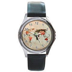 Vintageworldmap1200 Round Leather Watch (silver Rim) by mjdesigns