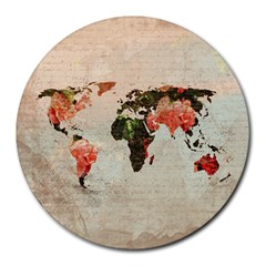 Vintageworldmap1200 8  Mouse Pad (round) by mjdesigns
