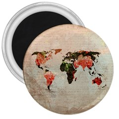 Vintageworldmap1200 3  Button Magnet by mjdesigns