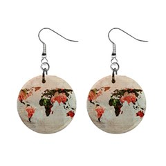 Vintageworldmap1200 Mini Button Earrings by mjdesigns