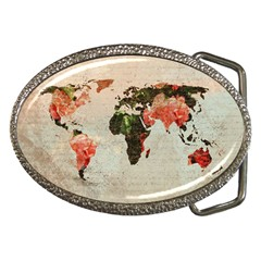 Vintageworldmap1200 Belt Buckle (oval) by mjdesigns