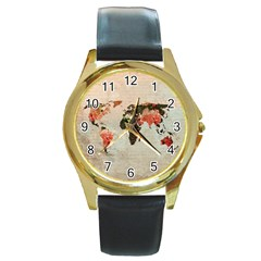 Vintageworldmap1200 Round Leather Watch (gold Rim)  by mjdesigns